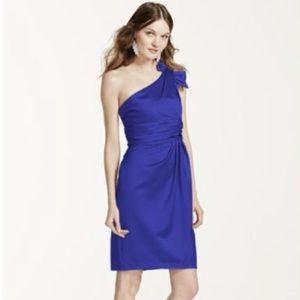 David's Bridal One Shoulder Dress In Horizon Blue